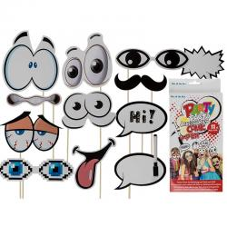 Party Photo Accessories Comic 11pcs + 1 Μαρκαδοράκι 63/2673