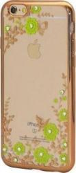 Θήκη TPU inos Apple iPhone 6/ iPhone 6S Electroplate Flowers Ultra Slim 0.3mm Χρυσό 81638