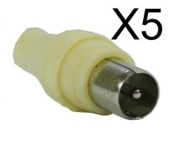 POWERTECH adapter για TV PAL 9.5mm CAB-V011, λευκό, 5τμχ