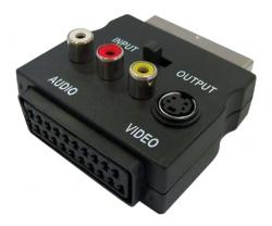 POWERTECH Αντάπτορας SCART ADA-S002, με διακόπτη IN/OUT και RCA, S-Video