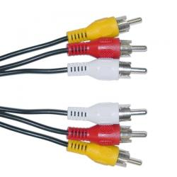 POWERTECH Καλώδιο 3x RCA Male σε 3x RCA Male (red, white, yellow), 5m CAB-R006