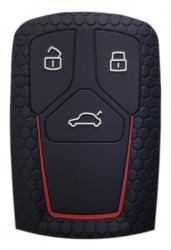 Θήκη κλειδιού για αυτοκίνητα Audi 2008-02, εύκαμπτη, μαύρη UNBRANDED